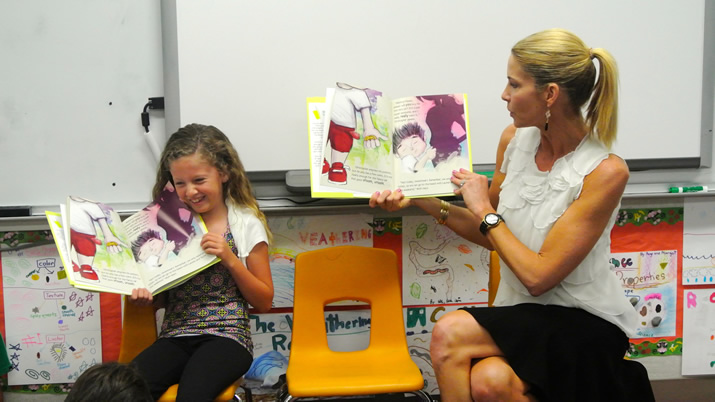 reading The Lemonade Stand by Shannon Ryan at Pacific Elementary School