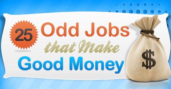 Odd Jobs that Make Good Money #Infographic | www.TheHeavyPurse.com